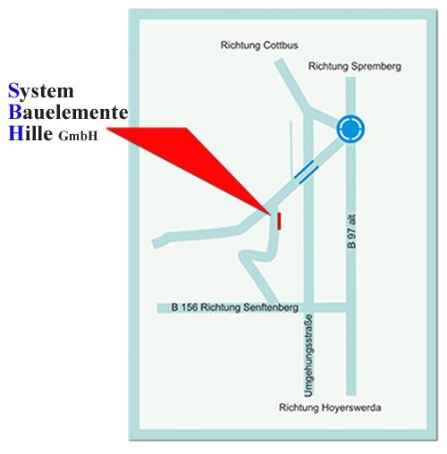 Anfahrt System-Bauelemente-Hille-Spremberg